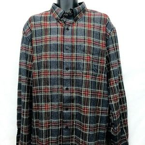 LL Bean Slightly Fitted Plaid Flannel Shirt